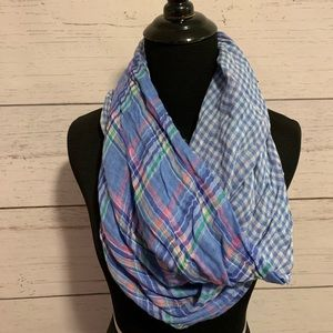 Reversible infinity scarf-plaid/gingham